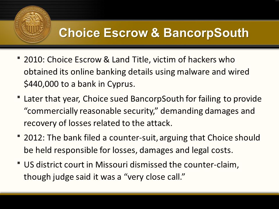 Choice Escrow & BancorpSouth