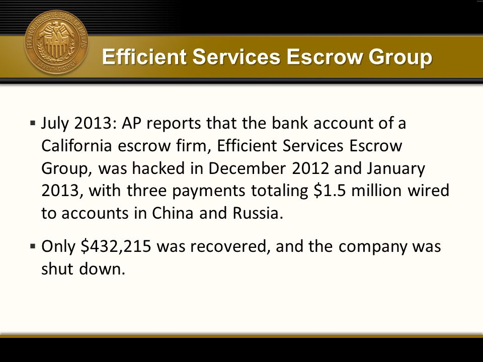 Efficient Services Escrow Group