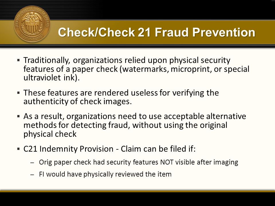 Check/Check 21 Fraud Prevention