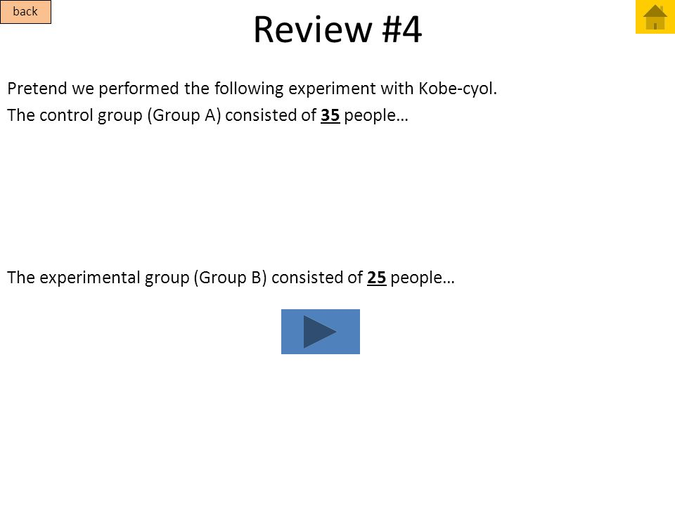 Review #4 back. Pretend we performed the following experiment with Kobe-cyol. The control group (Group A) consisted of 35 people…