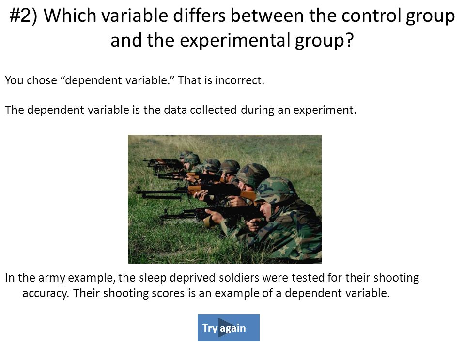 #2) Which variable differs between the control group and the experimental group