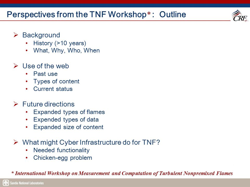 Perspectives from the TNF Workshop* : Outline