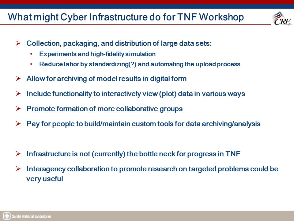 What might Cyber Infrastructure do for TNF Workshop