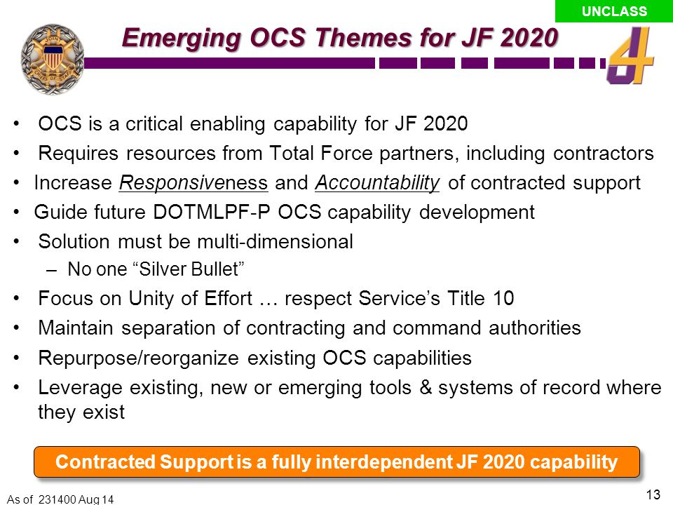 Contracted Support is a fully interdependent JF 2020 capability