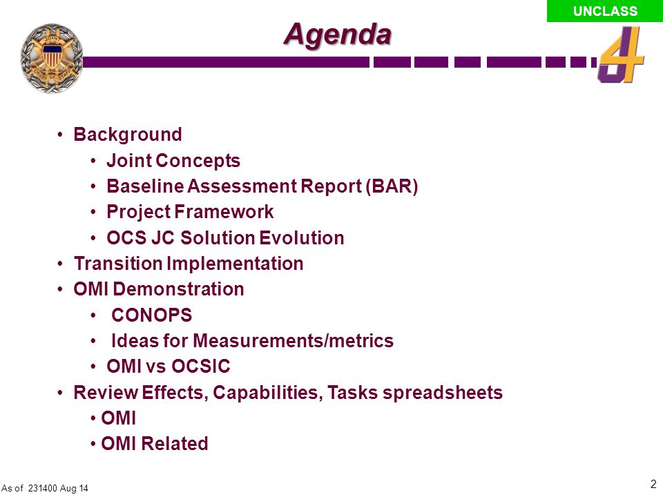 Agenda Background Joint Concepts Baseline Assessment Report (BAR)