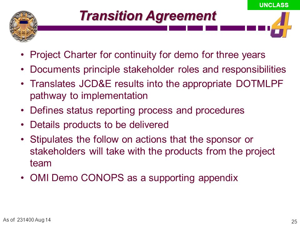 Transition Agreement Project Charter for continuity for demo for three years. Documents principle stakeholder roles and responsibilities.