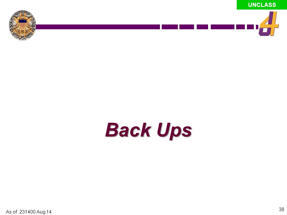 Back Ups As of 231400 Aug 14