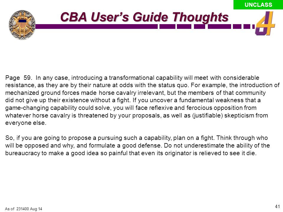 CBA User's Guide Thoughts