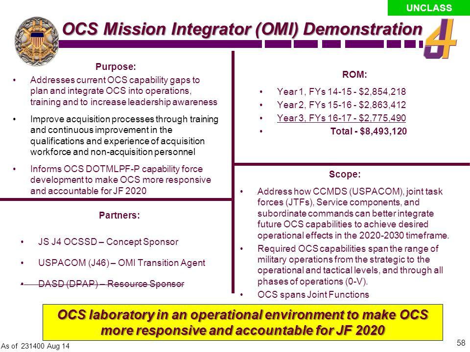 OCS Mission Integrator (OMI) Demonstration