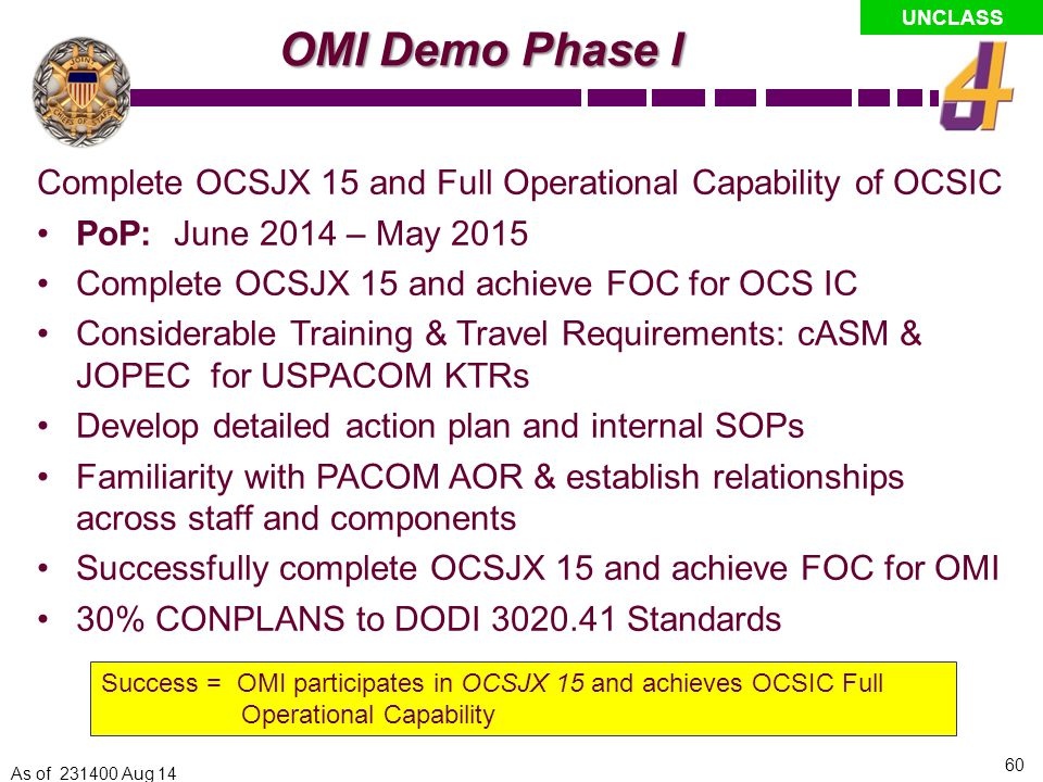OMI Demo Phase I Complete OCSJX 15 and Full Operational Capability of OCSIC. PoP: June 2014 – May 2015.