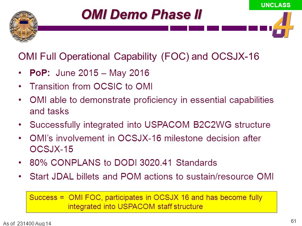 OMI Demo Phase II OMI Full Operational Capability (FOC) and OCSJX-16