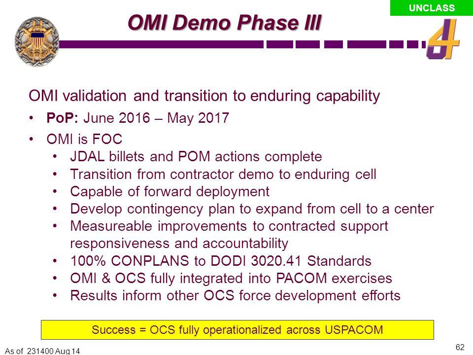 Success = OCS fully operationalized across USPACOM