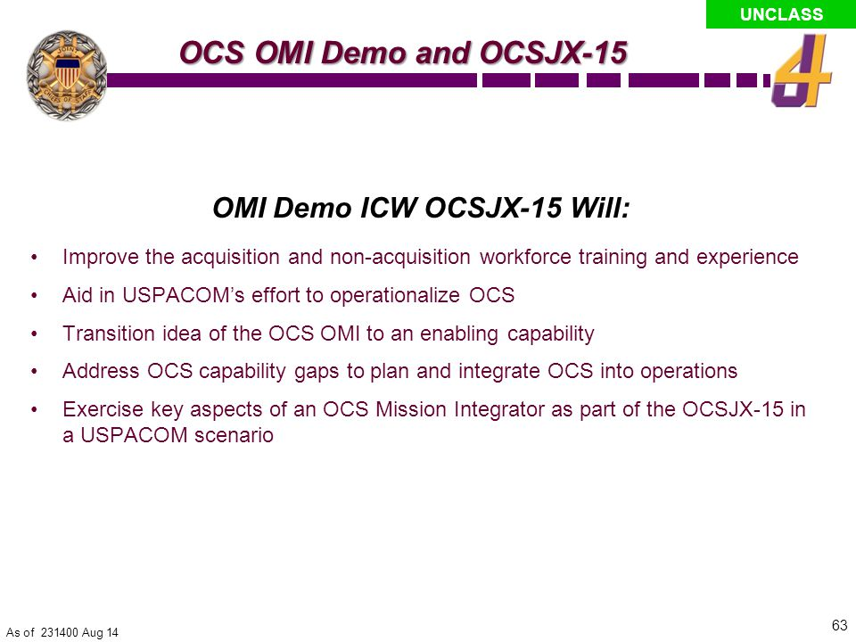 OMI Demo ICW OCSJX-15 Will: