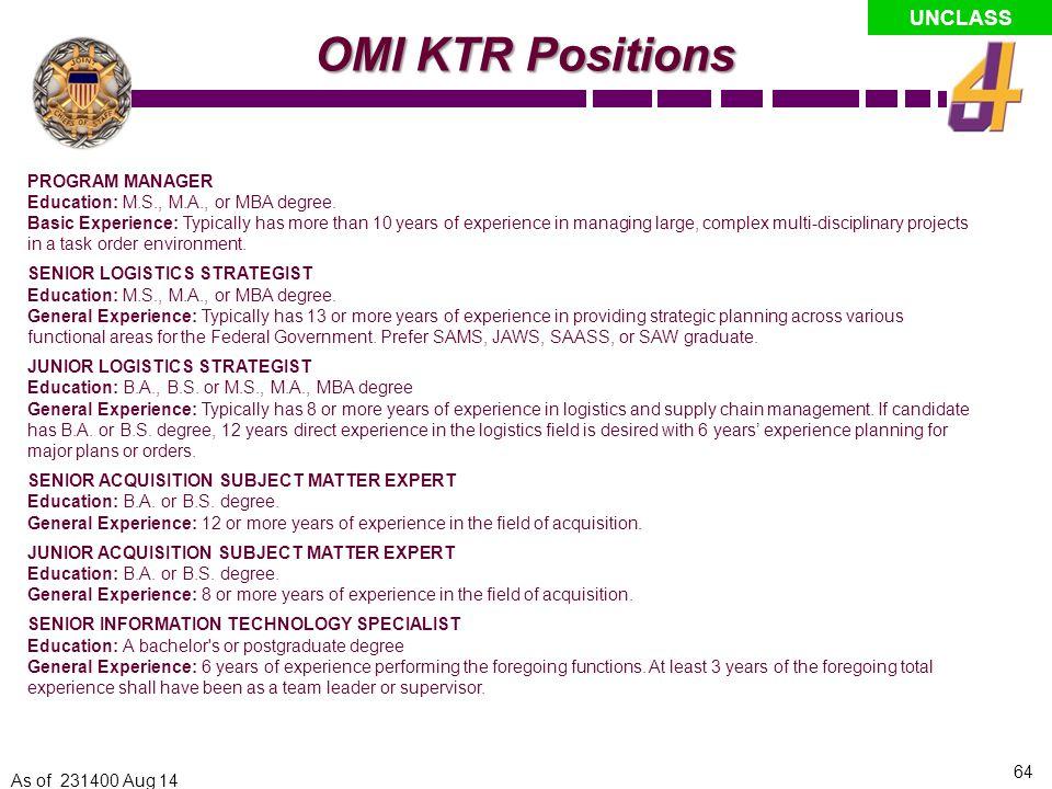 OMI KTR Positions PROGRAM MANAGER