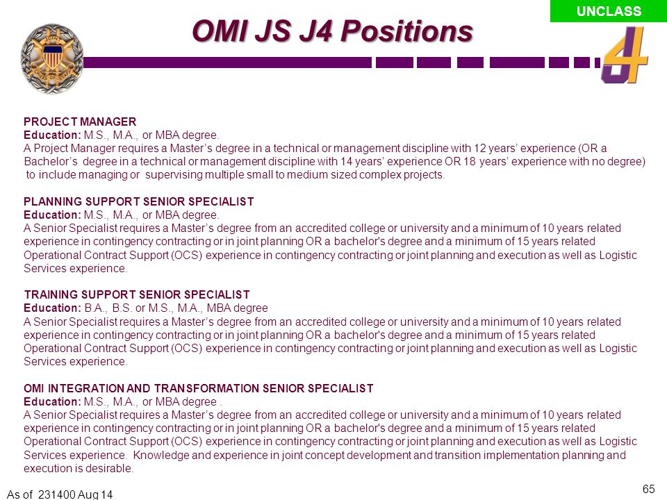 OMI JS J4 Positions PROJECT MANAGER