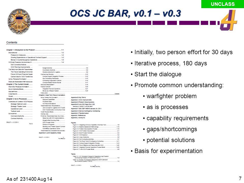 OCS JC BAR, v0.1 – v0.3 Initially, two person effort for 30 days