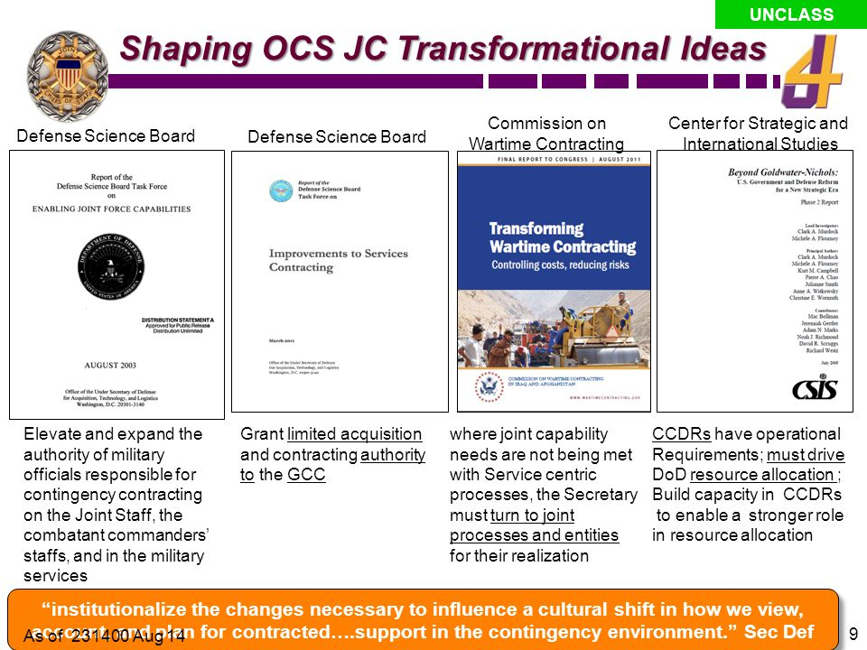 Shaping OCS JC Transformational Ideas