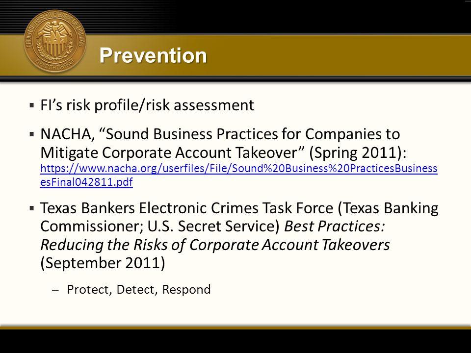 Prevention FI's risk profile/risk assessment