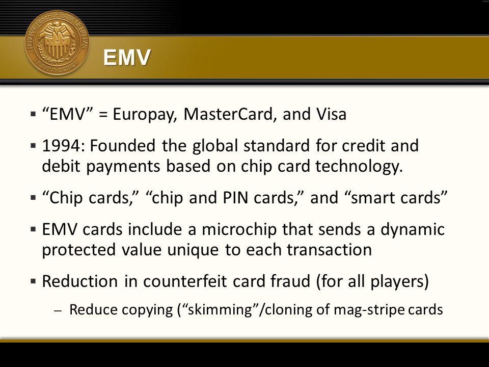 EMV EMV = Europay, MasterCard, and Visa