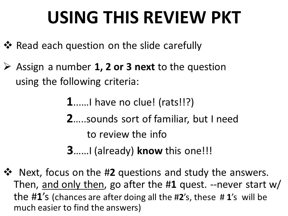 USING THIS REVIEW PKT 3……I (already) know this one!!!