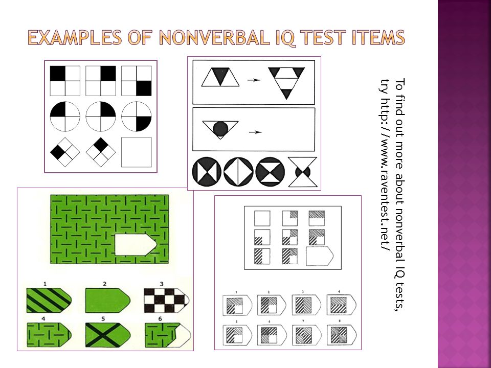 Examples of nonverbal iq test items