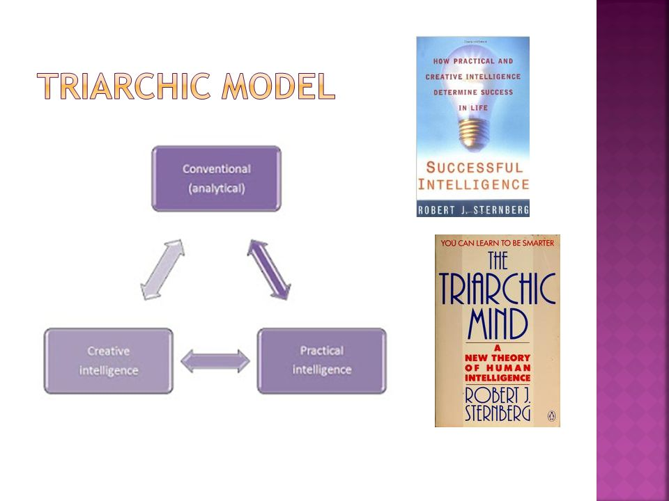 Triarchic model Upper book cover image: http://www.amazon.com/Successful-Intelligence-Practical-Creative-Determine/dp/0452279062.