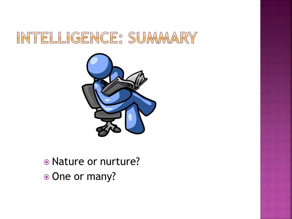 Intelligence: summary