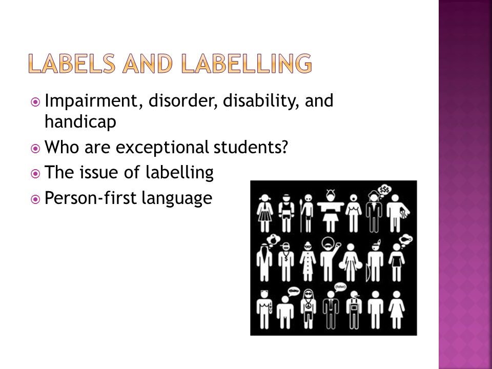 labels and labelling Impairment, disorder, disability, and handicap