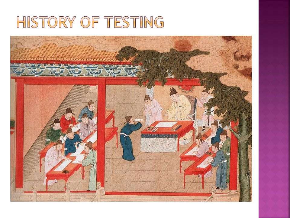 History of testing Image source: http://zh.wikipedia.org/wiki/File:Palastexamen-SongDynastie.jpg