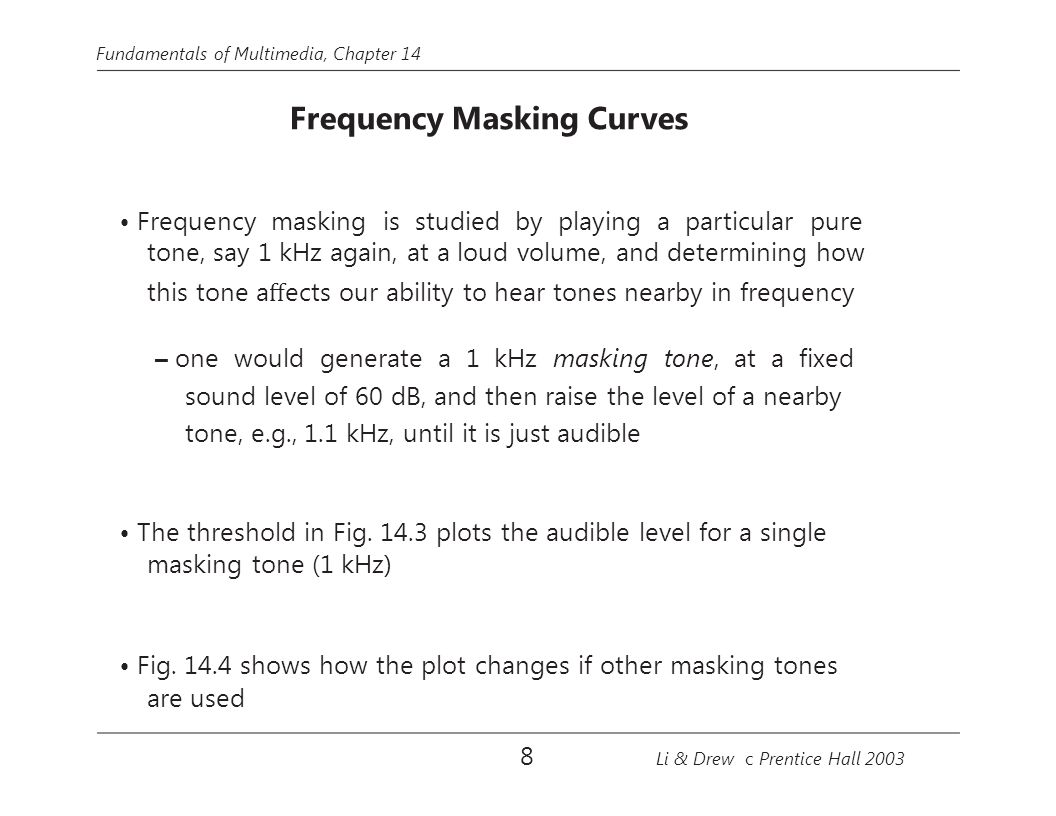 • Frequency masking is studied by playing a particular pure