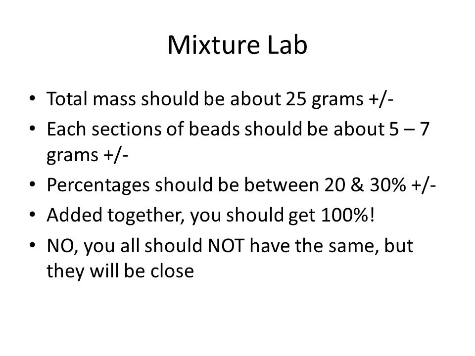 Mixture Lab Total mass should be about 25 grams +/-