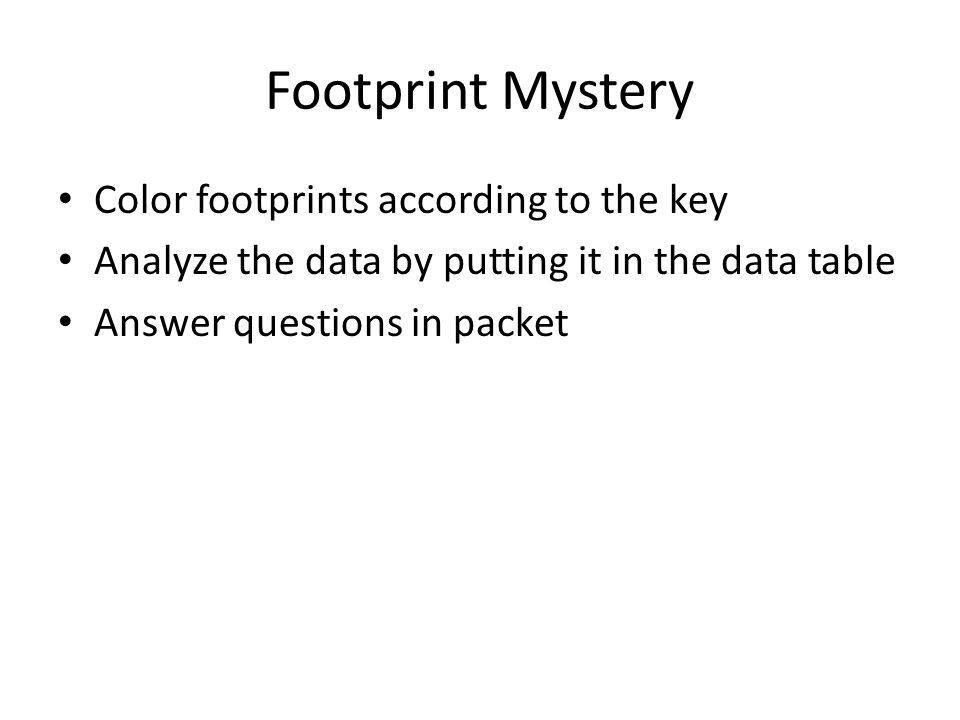 Footprint Mystery Color footprints according to the key