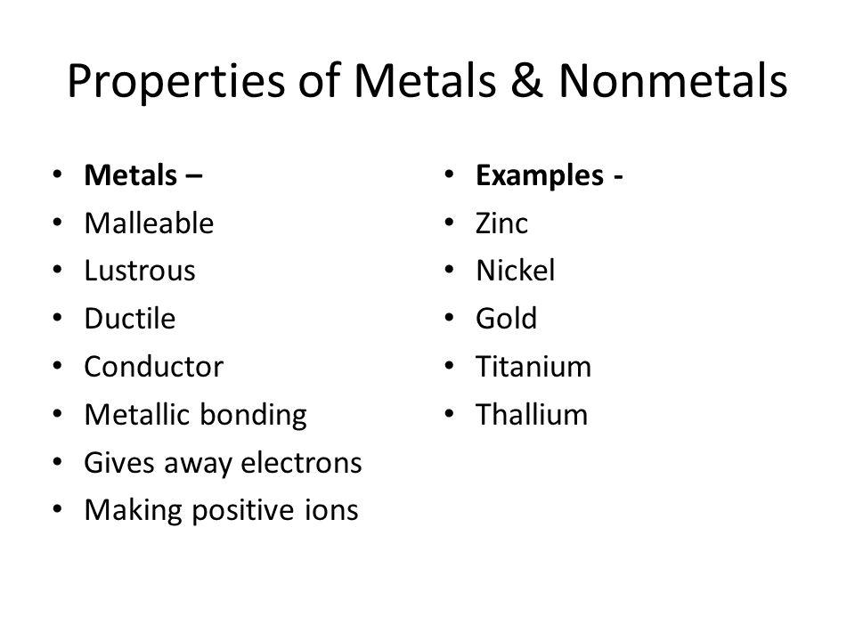 Properties of Metals & Nonmetals