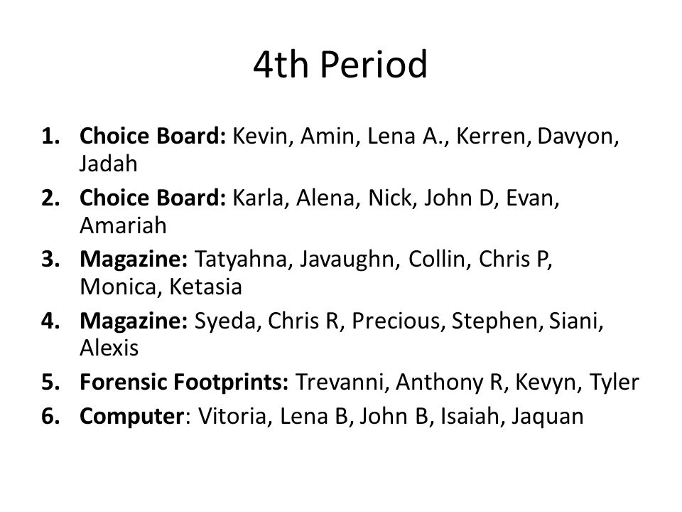 4th Period Choice Board: Kevin, Amin, Lena A., Kerren, Davyon, Jadah