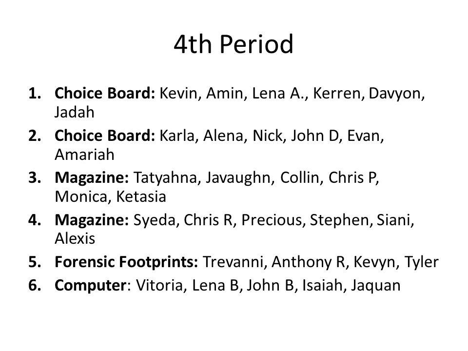 4th Period Choice Board: Kevin, Amin, Lena A., Kerren, Davyon, Jadah