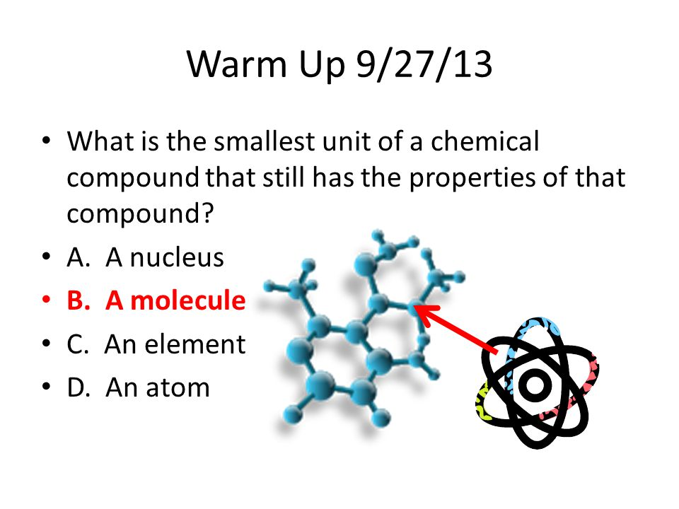 Warm Up 9/27/13 What is the smallest unit of a chemical compound that still has the properties of that compound