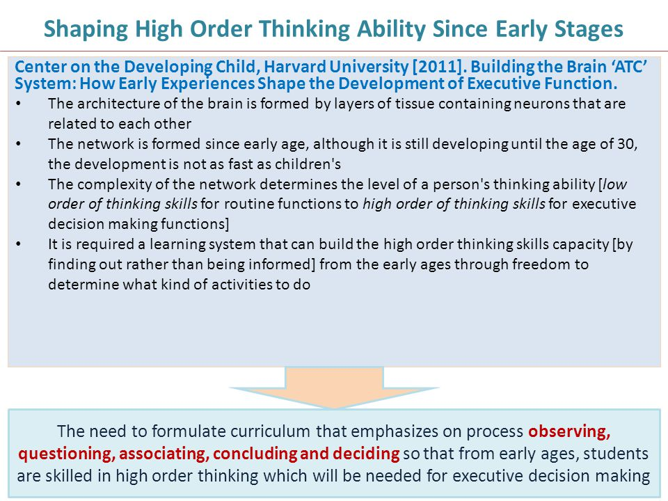 Shaping High Order Thinking Ability Since Early Stages