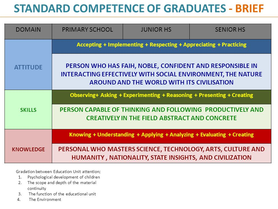 STANDARD COMPETENCE OF GRADUATES - BRIEF