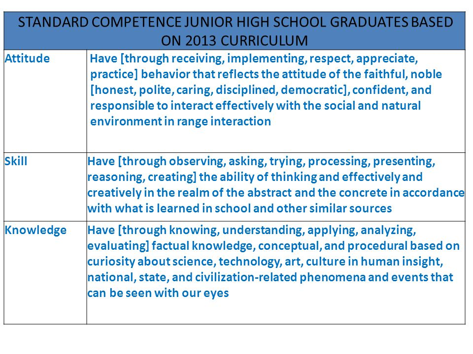 STANDARD COMPETENCE JUNIOR HIGH SCHOOL GRADUATES BASED ON 2013 CURRICULUM