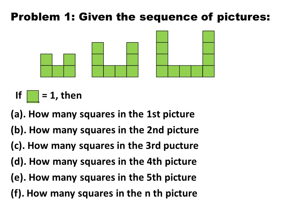 Problem 1: Given the sequence of pictures:
