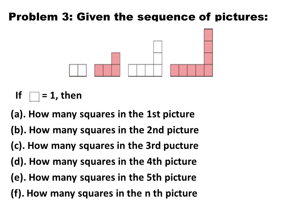Problem 3: Given the sequence of pictures: