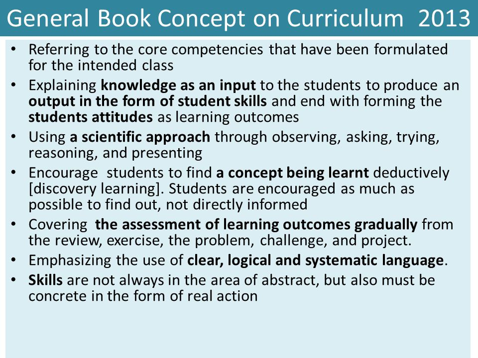 General Book Concept on Curriculum 2013