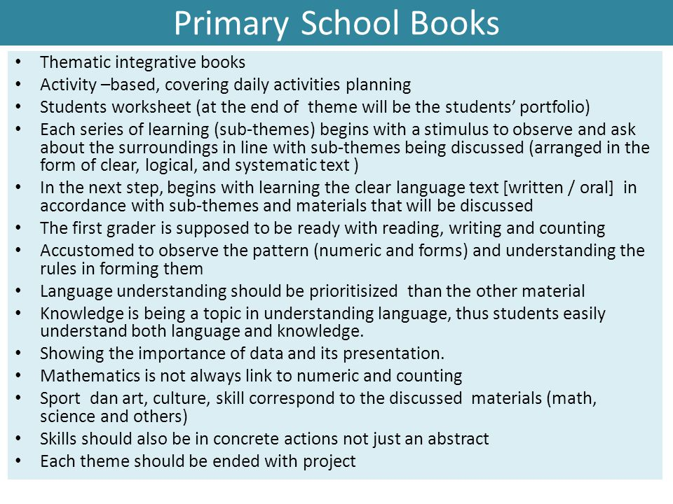 Primary School Books Thematic integrative books