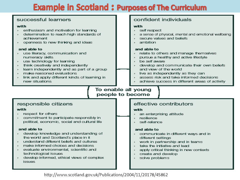 Example in Scotland : Purposes of The Curriculum