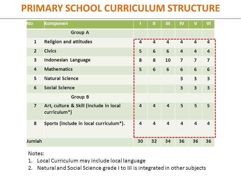 PRIMARY SCHOOL CURRICULUM STRUCTURE