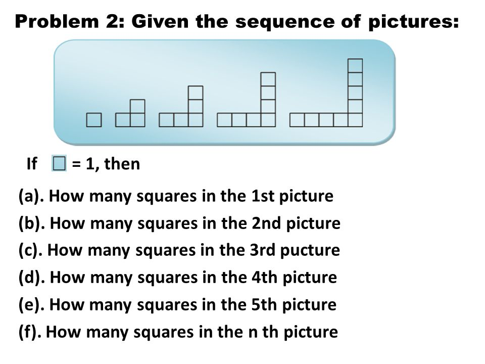 Problem 2: Given the sequence of pictures: