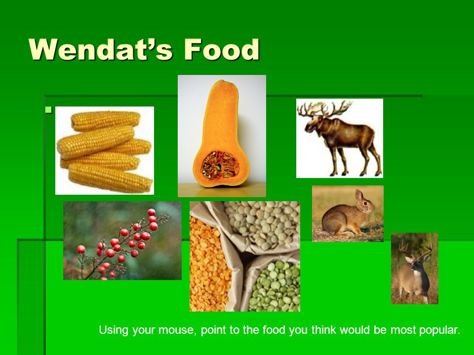 Wendat's Food Using your mouse, point to the food you think would be most popular.