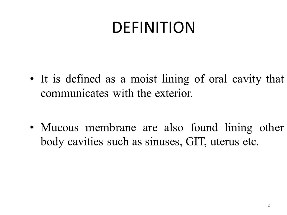 DEFINITION It is defined as a moist lining of oral cavity that communicates with the exterior.