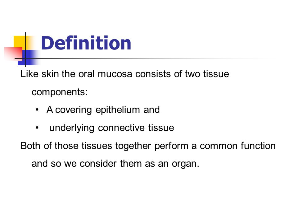 Definition Like skin the oral mucosa consists of two tissue components: A covering epithelium and.