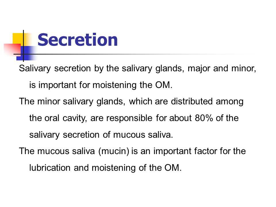 Secretion Salivary secretion by the salivary glands, major and minor, is important for moistening the OM.